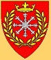 Æthelmearc - Blazon: Gules, an escarbuncle argent within a laurel wreath and in chief a coronet Or