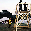 Northshield's Siege Tower and its architect (Ed the Tall) at Pennsic 27 (1997)