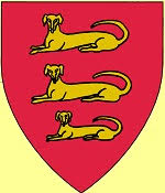 Device: Gules, in pile three dogs coucahnt guardant Or