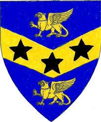 Device: Azure, on a chevron inverted between two griffins passant Or three mullets sable.