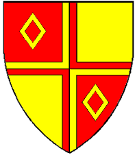 Device: Quarterly gules and Or a cross between in bend two mascles counterchanged.