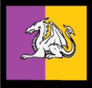 Device: Per pale purpure and Or, a dragon couchant argent and a bordure sable.