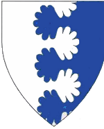 Device: Per chevron azure and vert, a chevron argent and in base a lion dormant Or
