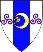 Device: Argent, on a pale azure between two triskelions of spirals purpure, an increscent argent, as an augmentation in base a quill or