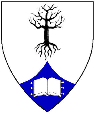 Device: Argent, a tree blasted and eradicated sable, on a point pointed azure an open book argent.