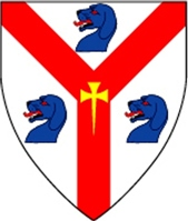 Device: Argent, on a pall gules a cross moline fitchy Or, 3 talbot heads azure orbed and langed gules