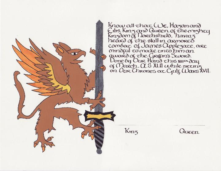 Griffin & Sword, Award of the