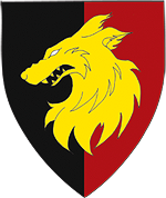 Device: Per pale sable and gules, a wolf's head erased Or.