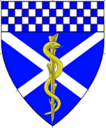 Device: Azure, a Saltier Argent overall a Rod of Aesculapius Or, a Chief checky Azure and Argent