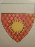 Device: Gules semy-de-lys, a sun Or and a chief argent.