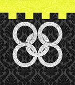Device: Sable; five annulets interlaced in saltire as maille, Argent; and a chief embattled Or