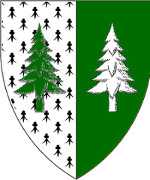 Device: Per pale ermine and vert, two pine trees couped counterchanged vert and argent