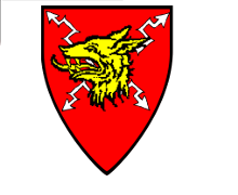 Device: Gules a thunderbolt argent surmounted by a wolfs head erased ore.
